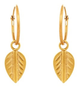 GOLD PLATED logo leaf earring