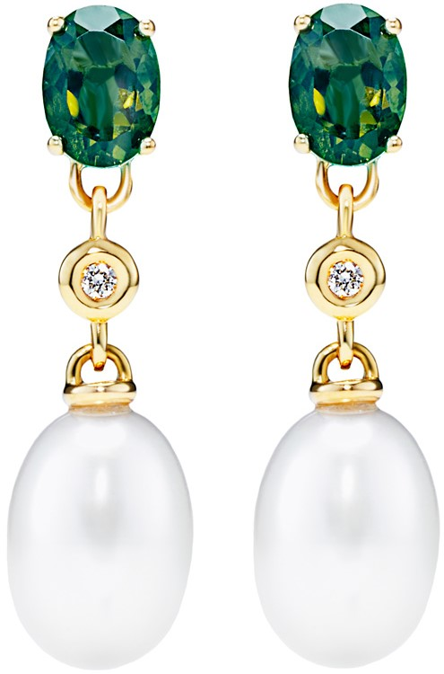 Turmalin Pärlörhängen med diamanter Emma Engelbert