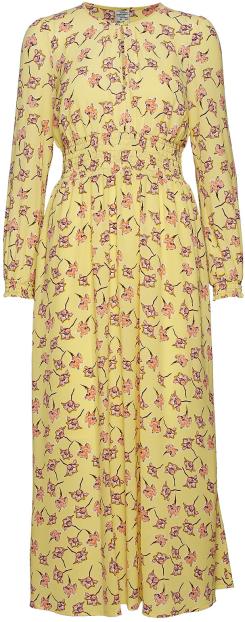 'Agnete' Dress i Lemon Flowersketch Baum und Pferdgarten fram