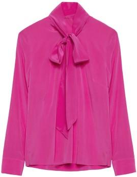 'Alexa' Bow Tie Blouse i Fuchsia Marville Road knut