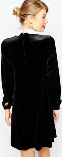 Asos svart klänning med vit krage bak