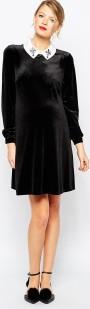 Asos svart klänning med vit krage hel