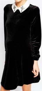 Asos svart klänning med vit krage sida