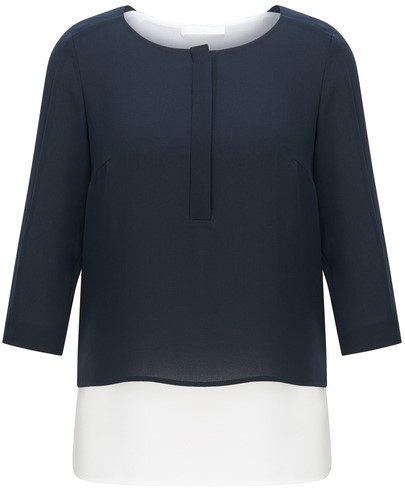 'Baliana' Layered-Look Blouse i Black White Hugo Boss