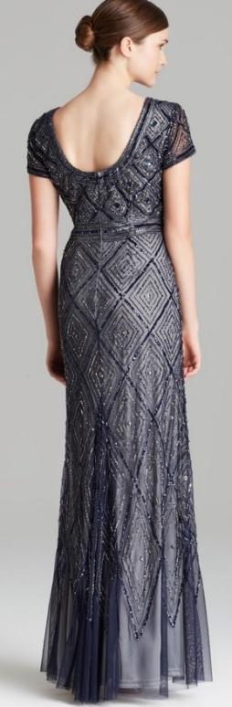 Short Sleeve Deco Diamond Beaded Gown i Blue Adrianna Papell bak