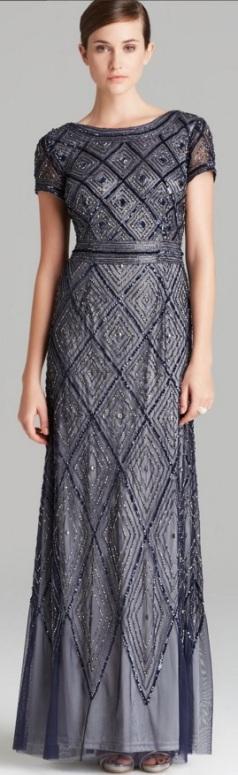 Short Sleeve Deco Diamond Beaded Gown i Blue Adrianna Papell fram