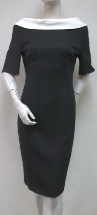 black white dress escada