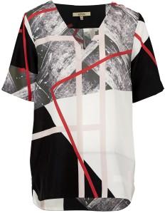 Blus 'Grace' Silk Print i SvartVit Whyred