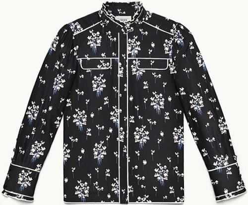 Blus med blommönster H&M x Erdem