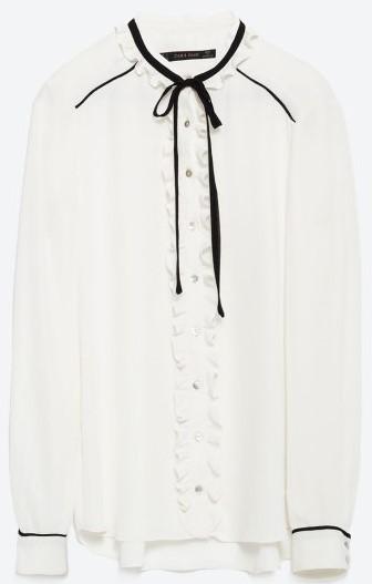 Blus med knytning i halsen i Naturfärg Zara
