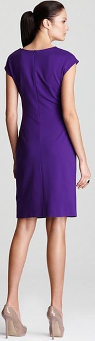 Cap Sleeve Dress i Dark Purple with Wrap Waist Detail från Escada bak