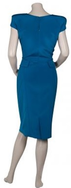 Cap Sleeve Rouch Detail Dress i Royal Blue från Elie Saab bak