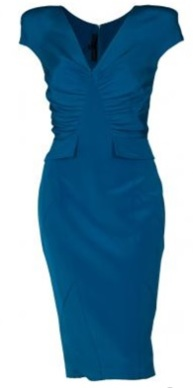Cap Sleeve Rouch Detail Dress i Royal Blue från Elie Saab singel