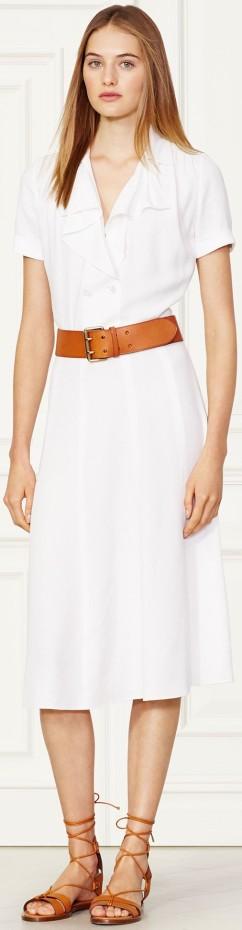 'Eva' Sablé Dress i Off White Ralph Lauren fram