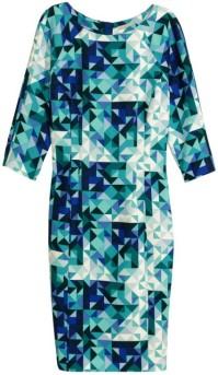 Figurnära klänning i TurkosMönstrad HM