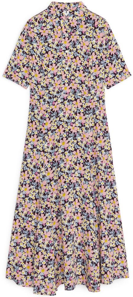 Floral Crêpe Dress i Brown-Pink Arket
