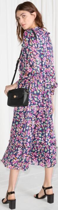 Floral Print Midi Dress i Blue Floral & Other Stories bak