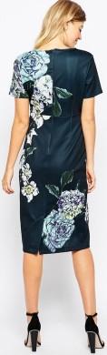 Floral Scuba Dress i Multi bak