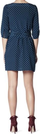 Hanna Dress i Navy-Powder Dot Greta bak