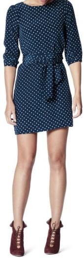 Hanna Dress i Navy-Powder Dot Greta fram