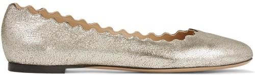 'Lauren' Scalloped Metallic Cracked-leather Ballet Flats Chloé