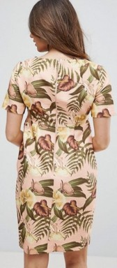 Maternity Smart Dress Tropical Print i Nude base floral bak