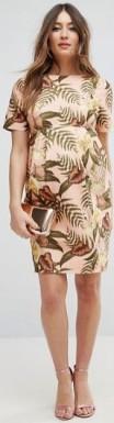 Maternity Smart Dress Tropical Print i Nude base floral fram hel