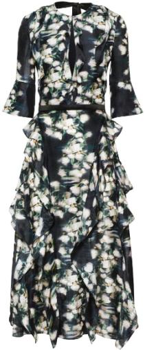 Mönstrad sidenklänning i Mörkblå blommig H&M fram