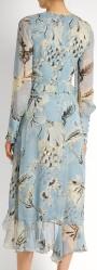 'Meg' Silk-Voile Dress i Blue Print Erdem bak