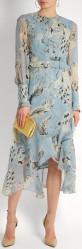 'Meg' Silk-Voile Dress i Blue Print Erdem fram