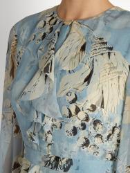 'Meg' Silk-Voile Dress i Blue Print Erdem närbild
