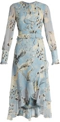 'Meg' Silk-Voile Dress i Blue Print Erdem singel