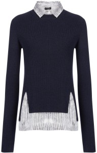 Merinos and Stripe Crepe de Chine Sweater i Navy Joesph