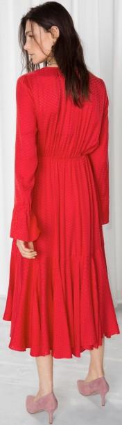 Midi Tie Neck Dress i Red & Other Stories bak