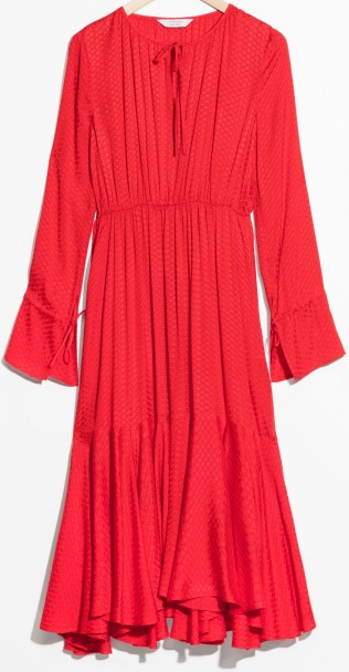 Midi Tie Neck Dress i Red & Other Stories