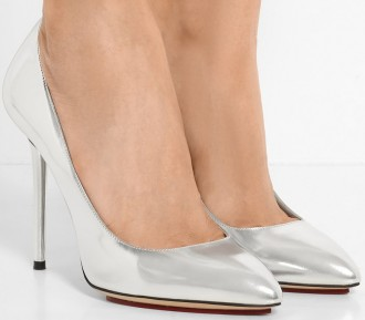 'Monroe' Silver Metallic Leather Pumps Charlotte Olympia