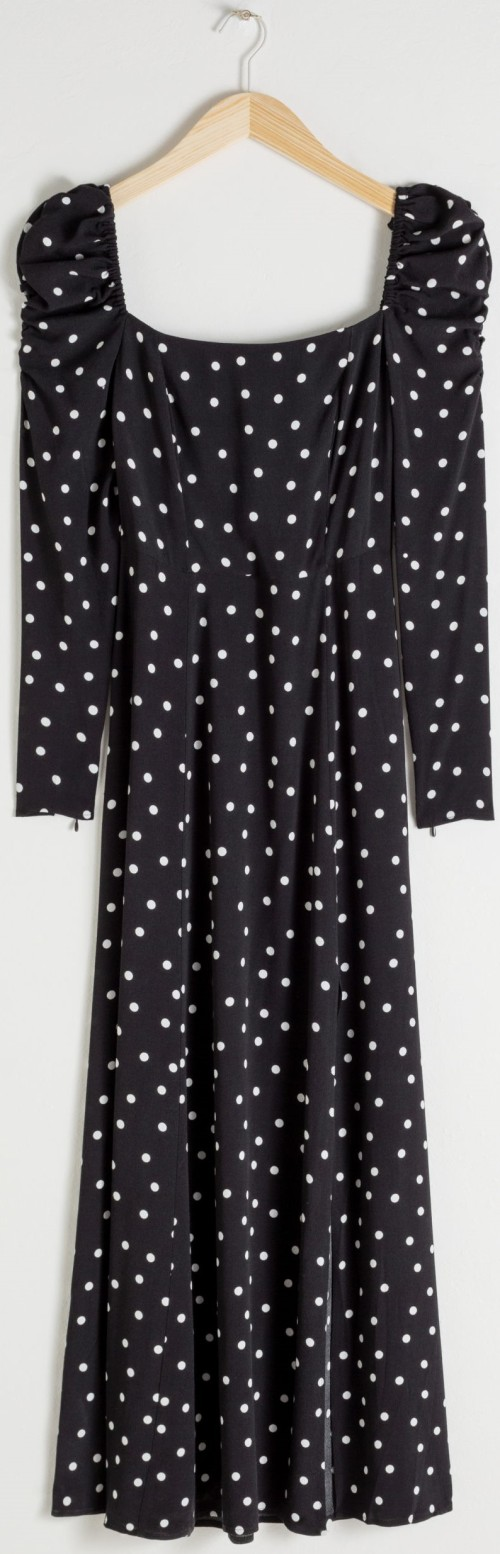 Ruched Polka Dot Maxi Dress & Other Stories