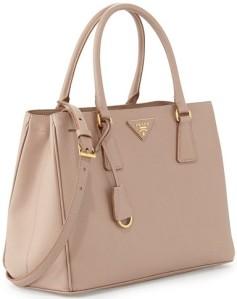 Saffiano Cuir Double Bag i Tan Prada sida