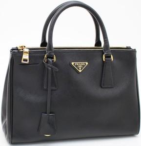 Saffiano Lux Tote Bag i Black Leather Prada