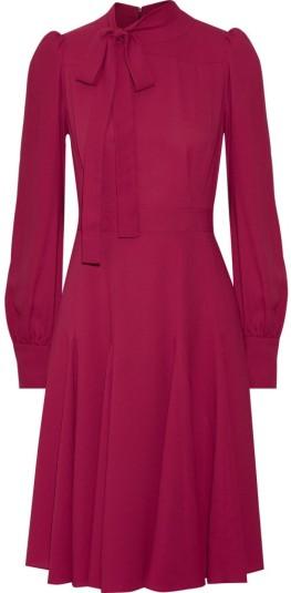 Silk-Crepe Dress i Petunia Gucci fram