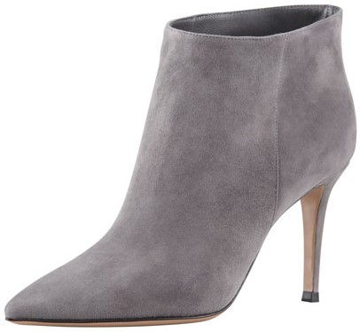 Suede Pointed-Toe Ankle Bootie i Gray Gianvito Rossi