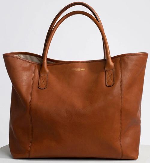 'Willow' Premium Leather Tote Bag i Brown Lexington