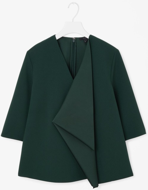 cos forest green drape detail a-line top