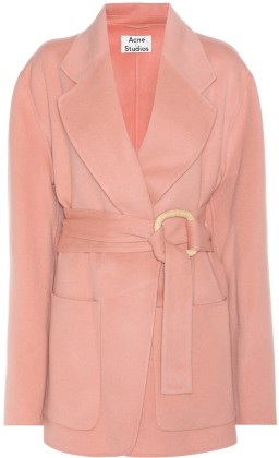 'Lilo' Wool and Cashmere Coat i Pale Pink Acne Studios