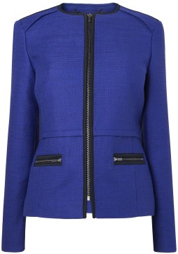 Newton Biker Jacket with trim detail i Blue L.K. Bennett fram
