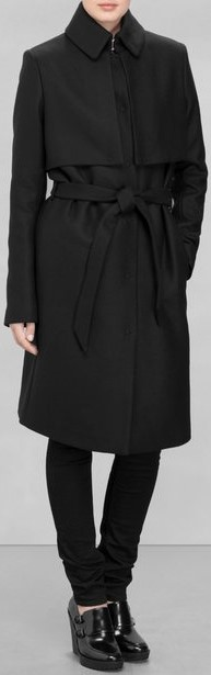 Wool Trench Coat i Black & Other Stories