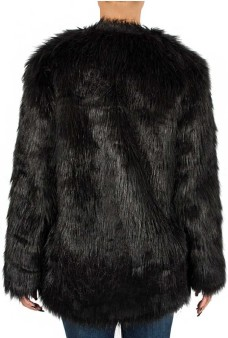 'Zannaz' Faux Fur Coat i Black By Malene Birger bak