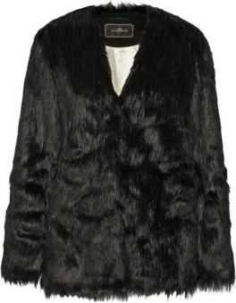'Zannaz' Faux Fur Coat i Black By Malene Birger fram