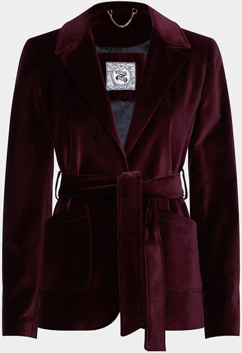 'Zendaya' Velvet Tailored Jacket i Grape Wine Tommy Hilfiger