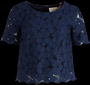 Blå spetsblus fram Lindex